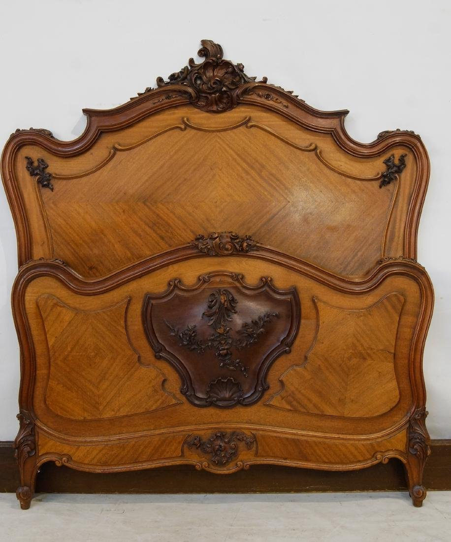 Antique French bed and marble top nightstands - 10