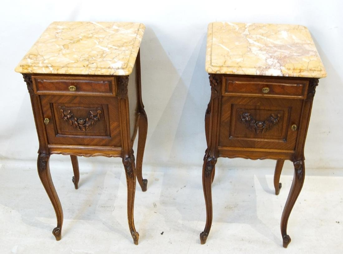 Antique French bed and marble top nightstands - 2