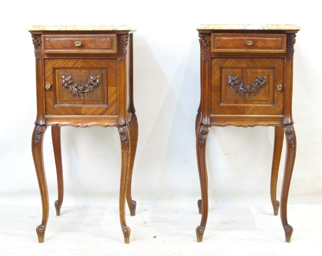 Antique French bed and marble top nightstands - 5