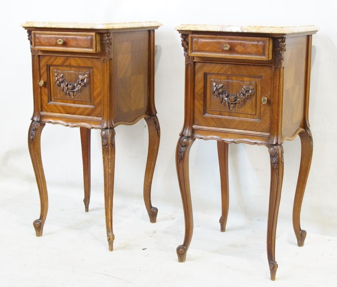 Antique French bed and marble top nightstands - 6
