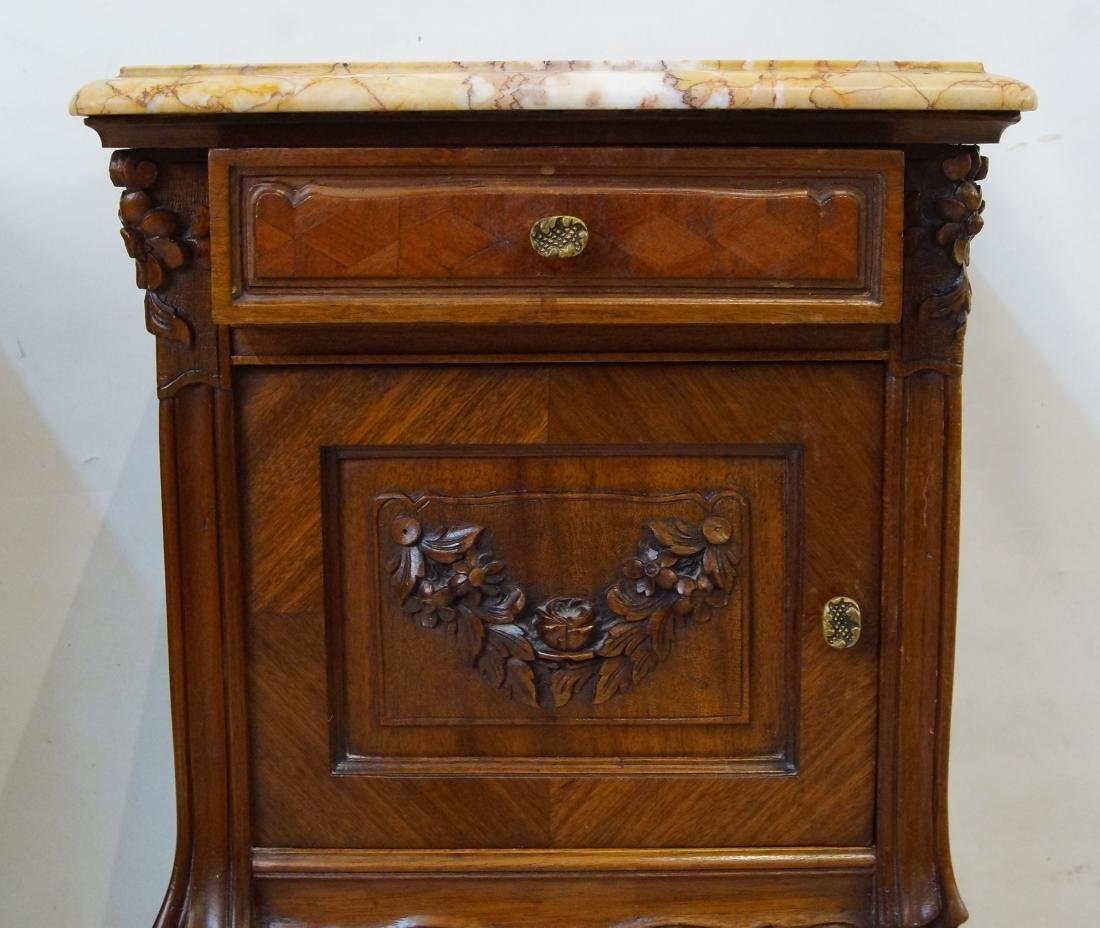 Antique French bed and marble top nightstands - 7