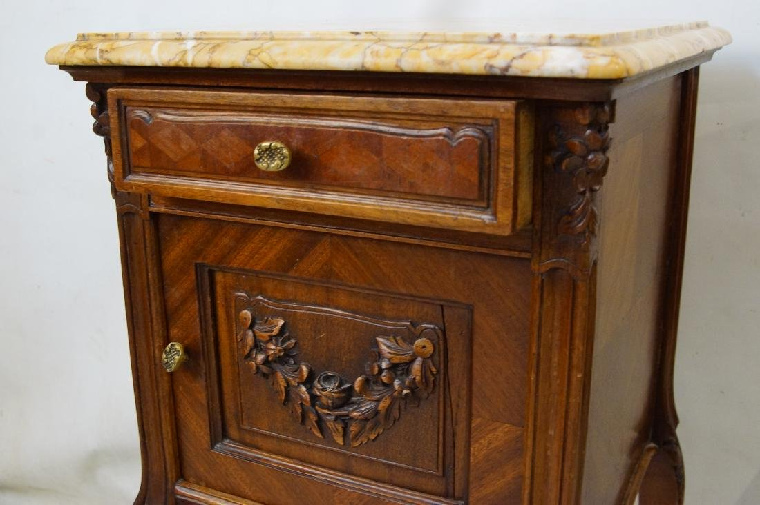 Antique French bed and marble top nightstands - 8