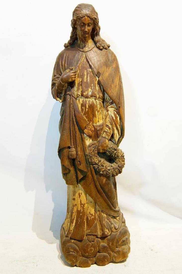 19th century French Wood Carved Santo