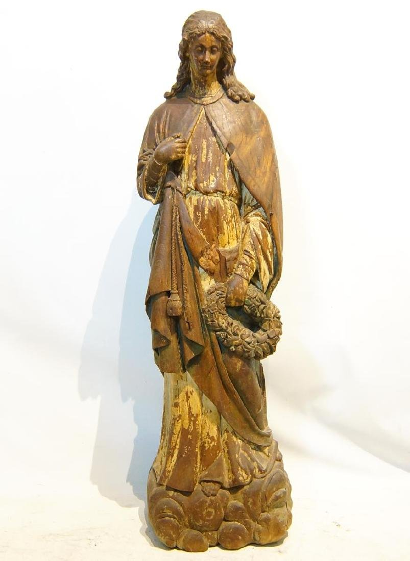 19th century French Wood Carved Santo - 8