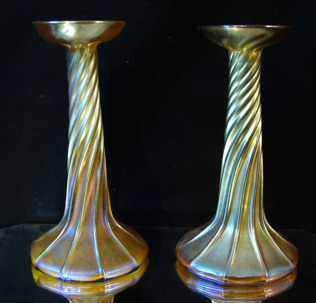 Tiffany pair candle sticks (LCT 3268)