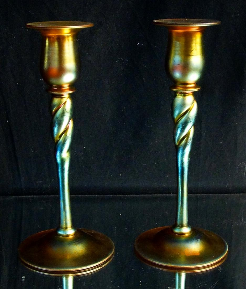 "Pair of Steuben ""Aurene"" candle sticks - 3"