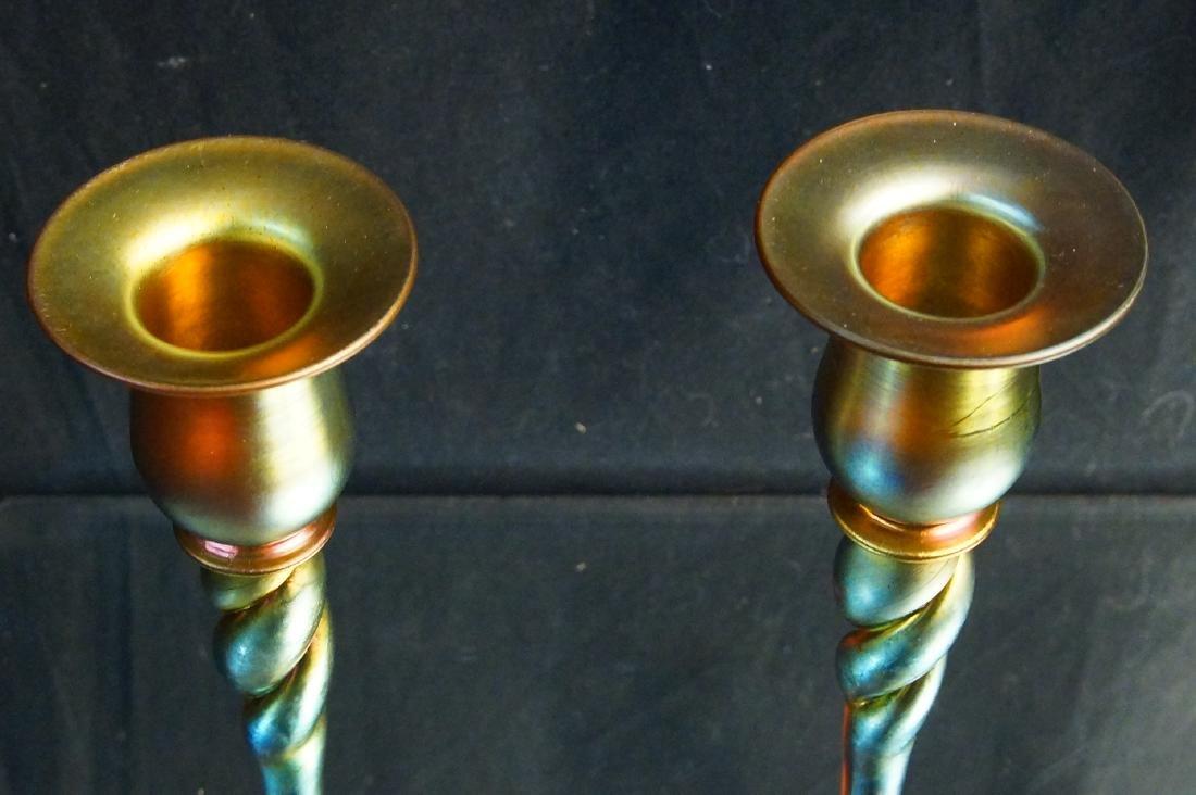 "Pair of Steuben ""Aurene"" candle sticks - 4"