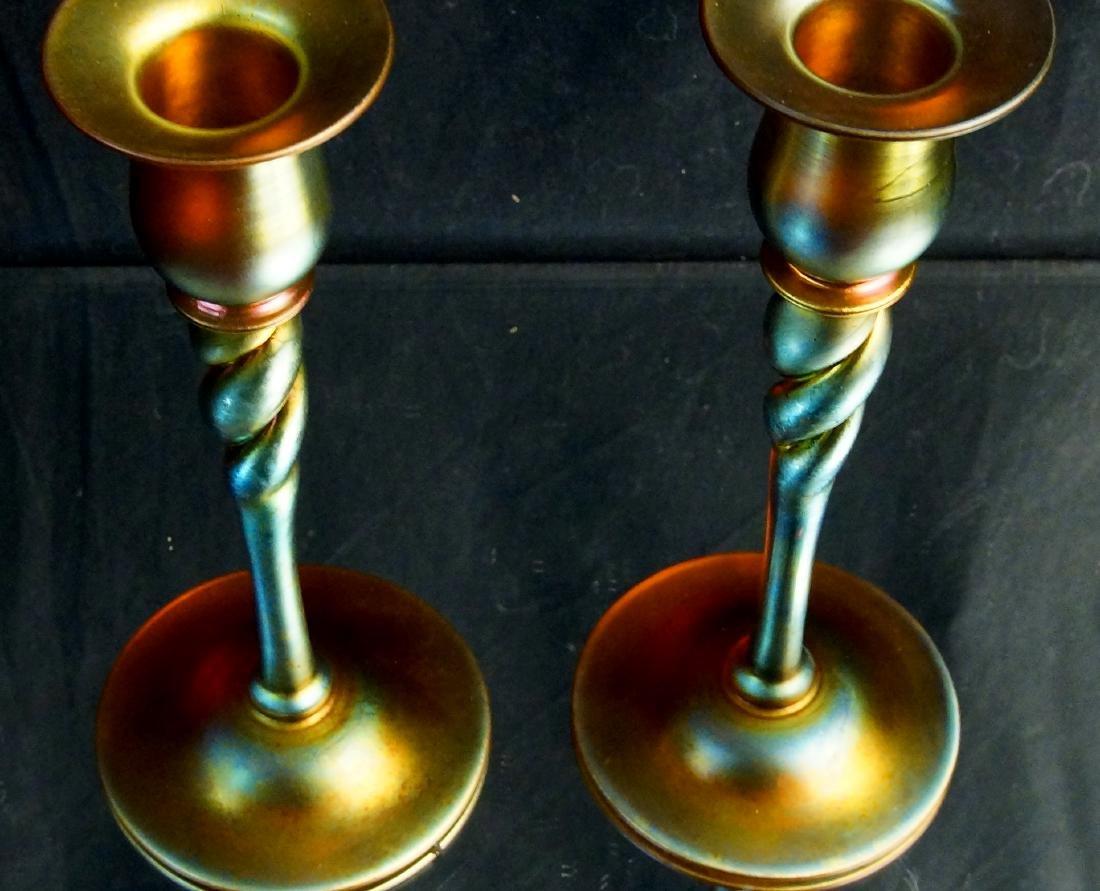 "Pair of Steuben ""Aurene"" candle sticks - 5"