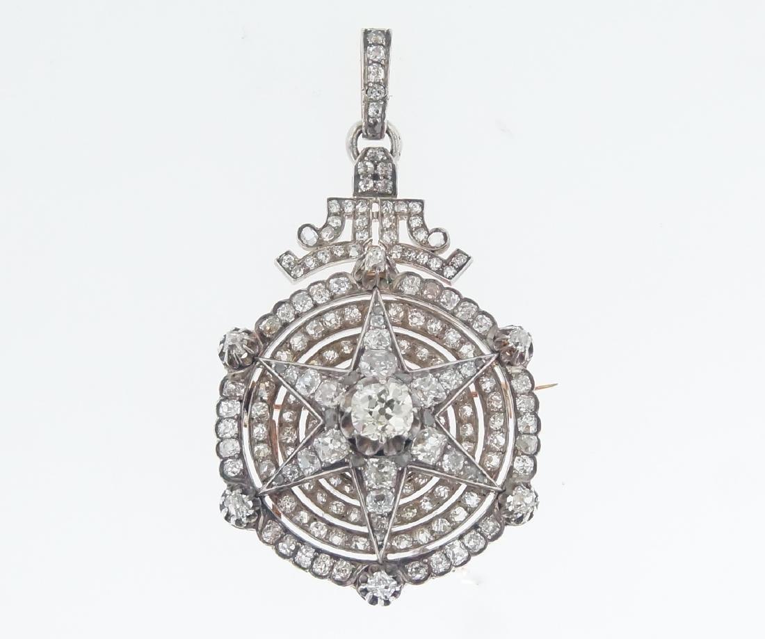 18kt gold Antique Star 10.28 ctw Diamond pendant