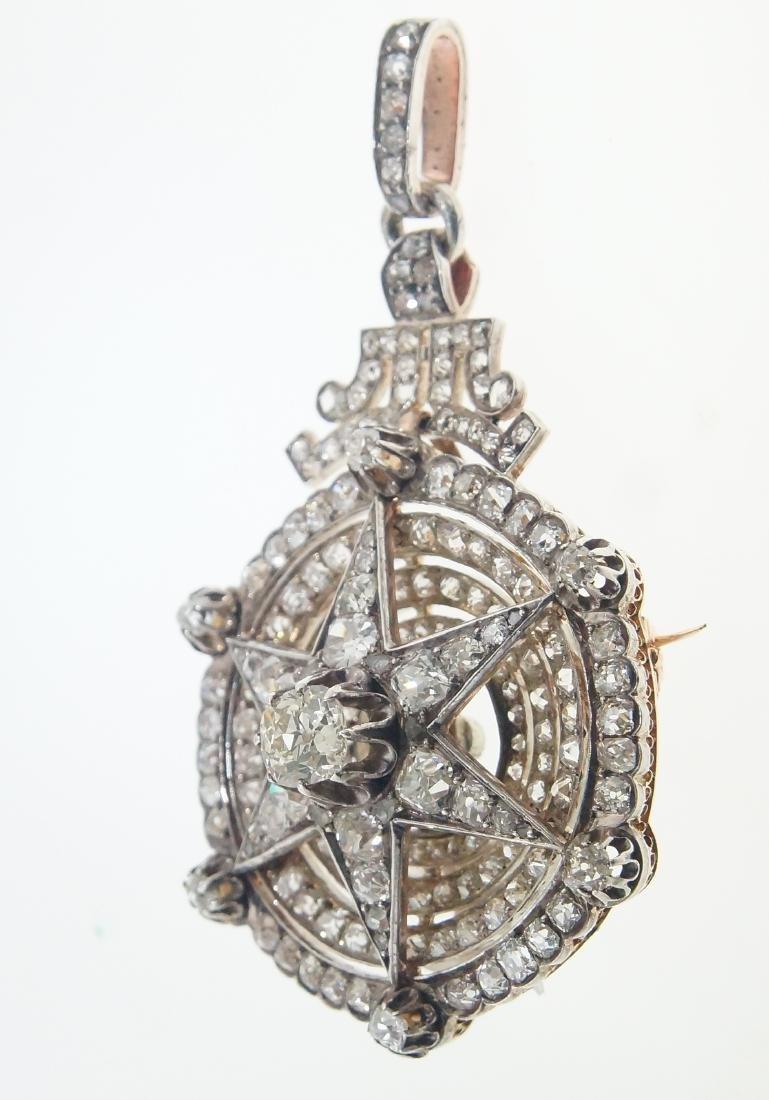 18kt gold Antique Star 10.28 ctw Diamond pendant - 2
