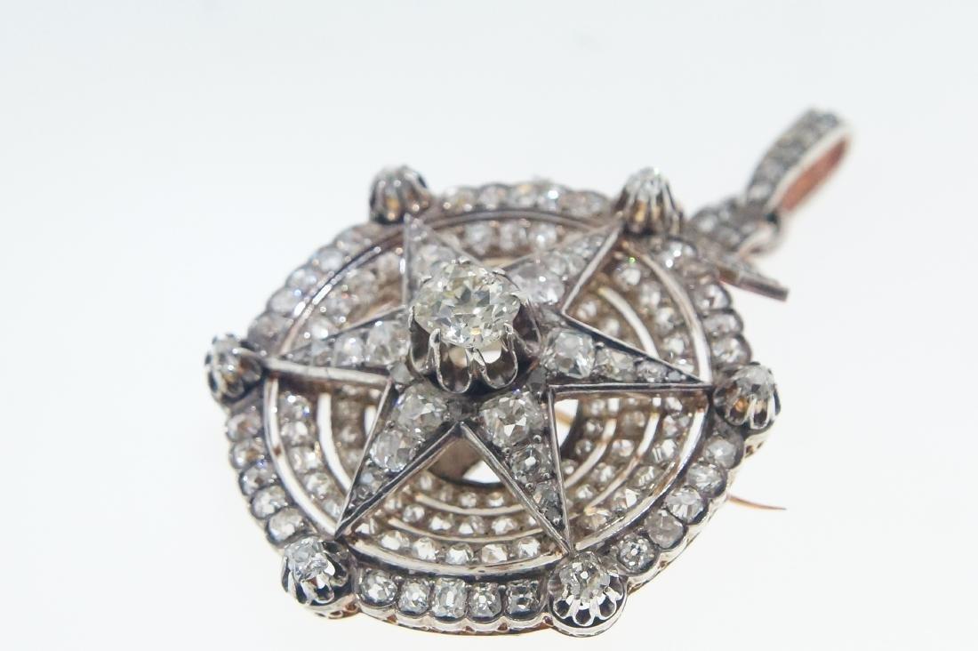 18kt gold Antique Star 10.28 ctw Diamond pendant - 6