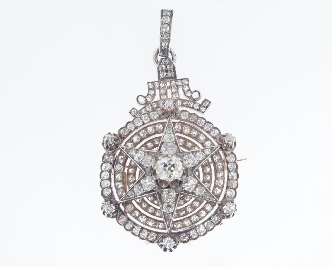 18kt gold Antique Star 10.28 ctw Diamond pendant - 8