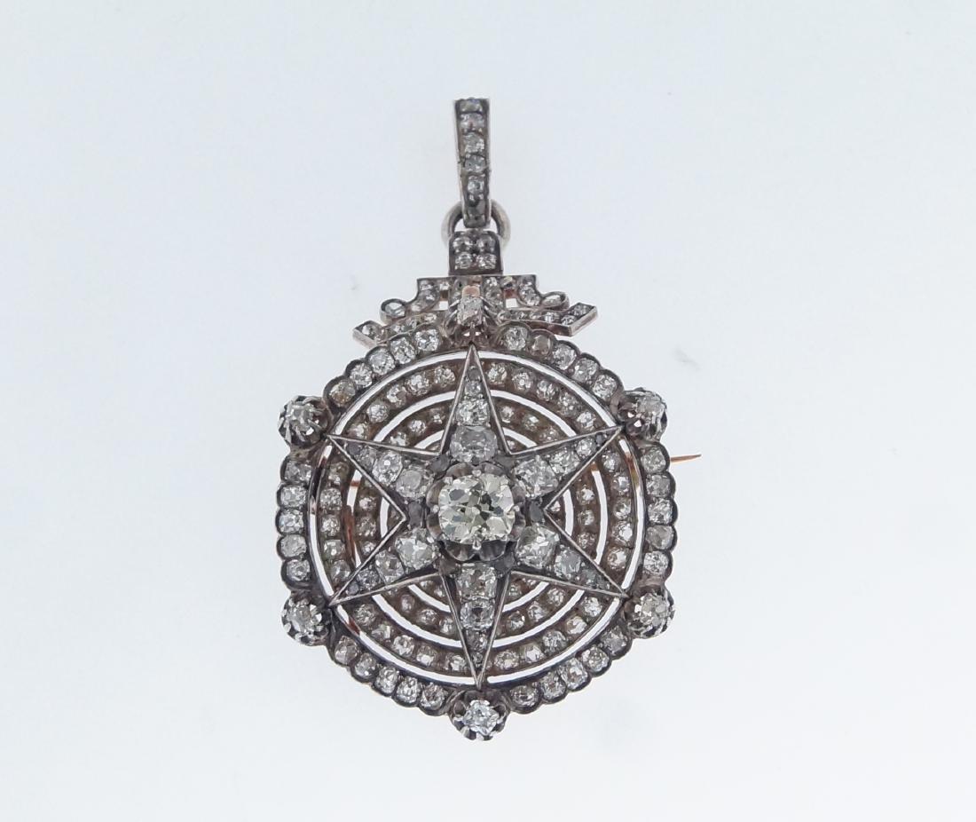 18kt gold Antique Star 10.28 ctw Diamond pendant - 9