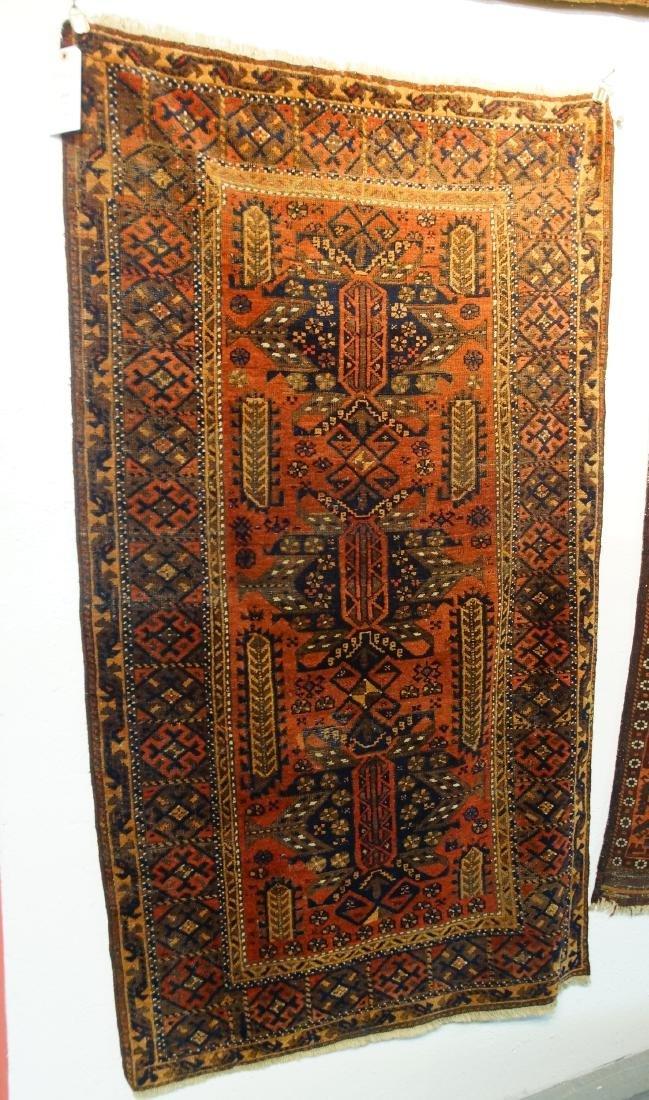 "19th cen. Persian Beluch rug -  37"" x 67"""