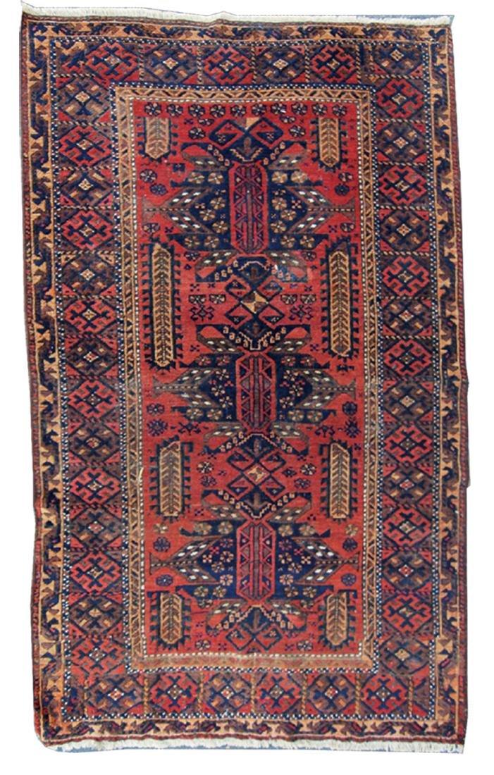"19th cen. Persian Beluch rug -  37"" x 67"" - 2"