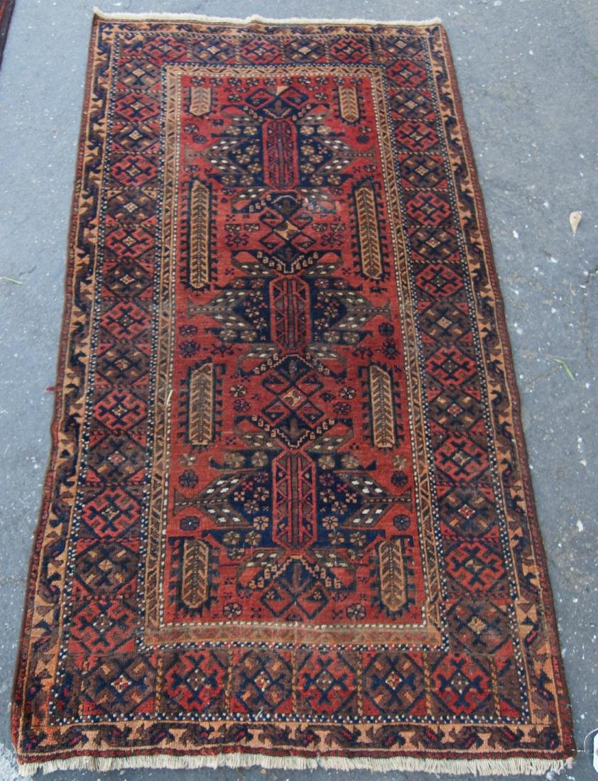 "19th cen. Persian Beluch rug -  37"" x 67"" - 3"