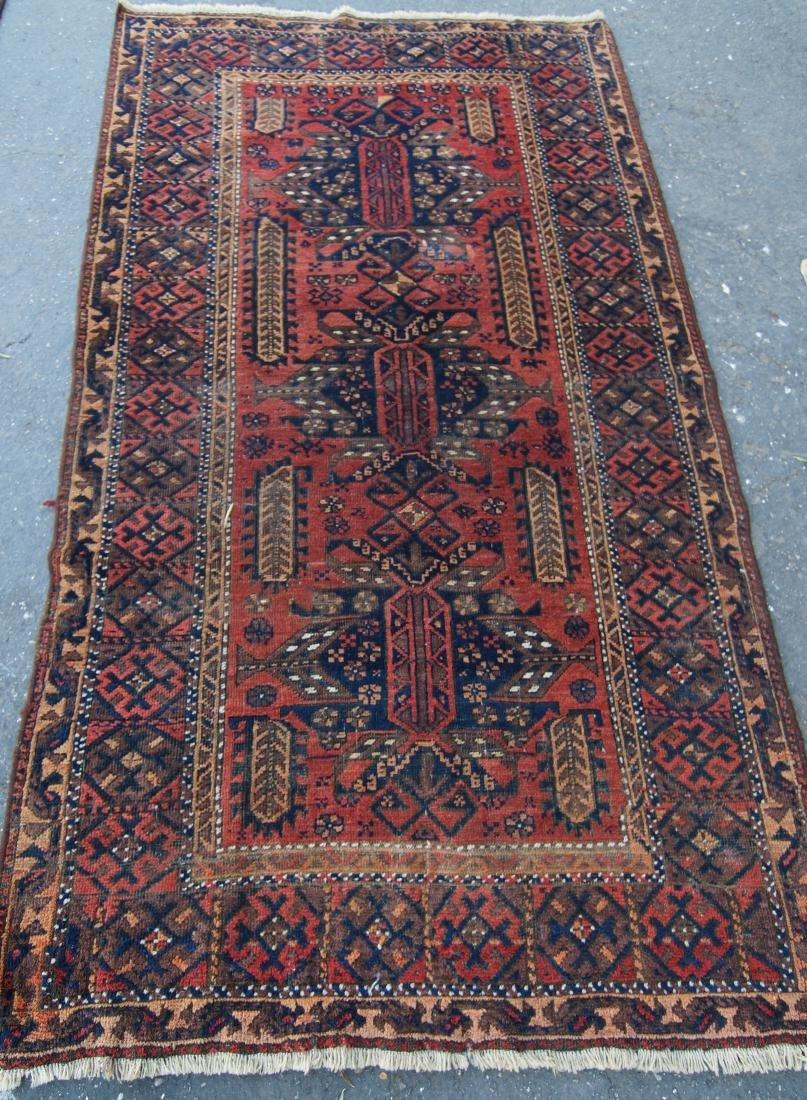 "19th cen. Persian Beluch rug -  37"" x 67"" - 4"
