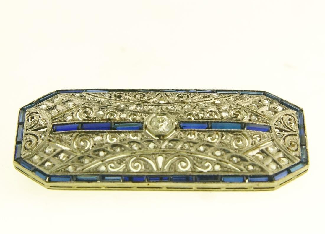 Art Deco 18kt diamond pin w blue sapphire - 2