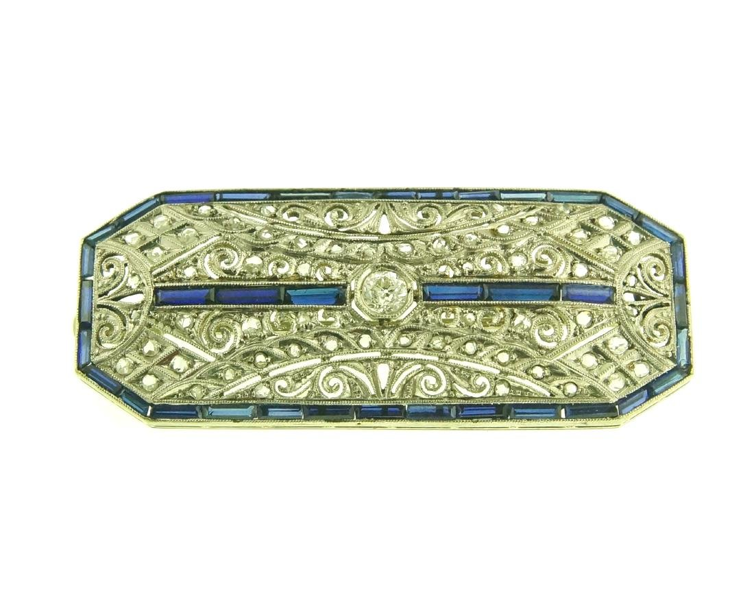 Art Deco 18kt diamond pin w blue sapphire - 3