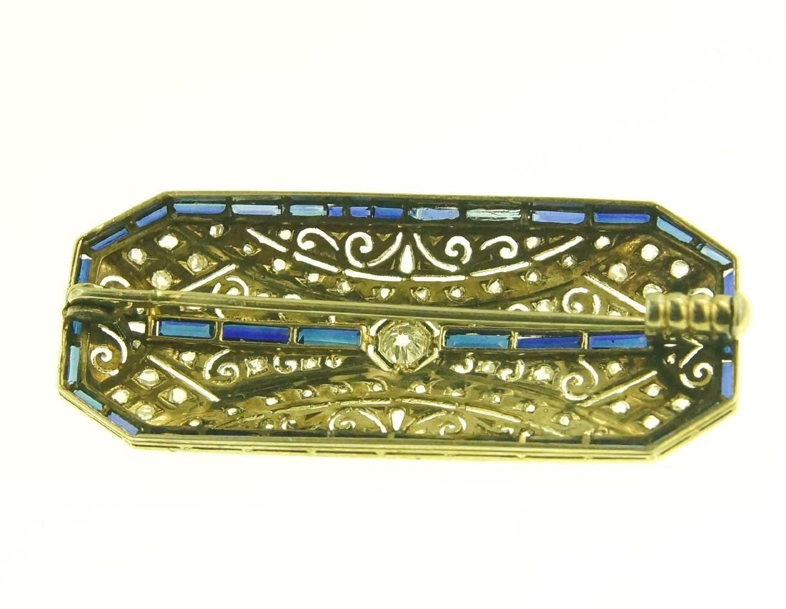 Art Deco 18kt diamond pin w blue sapphire - 4