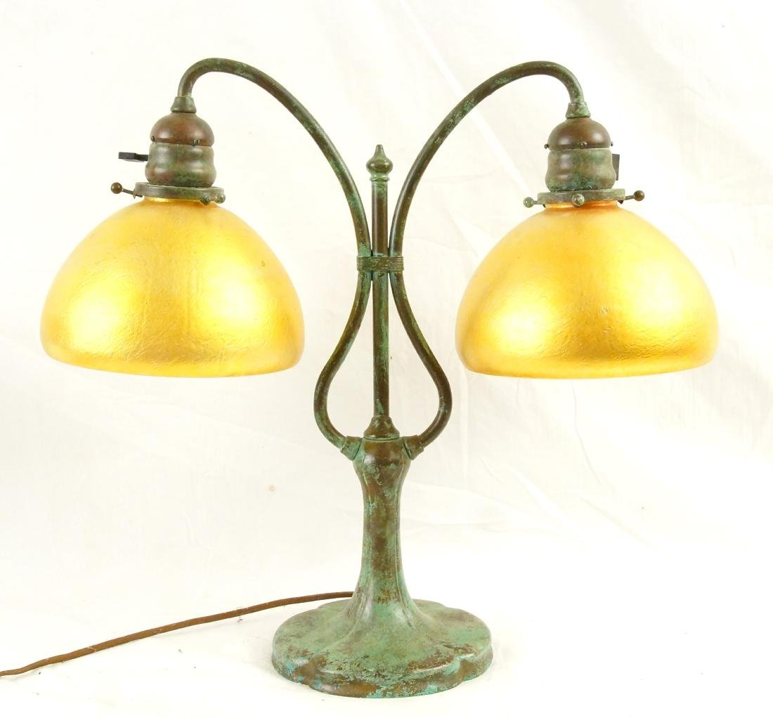 Favrile glass bronze base 2 shade lamp