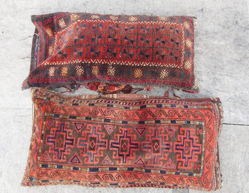 Two Antique Beluch woven Persian bags (pillows)