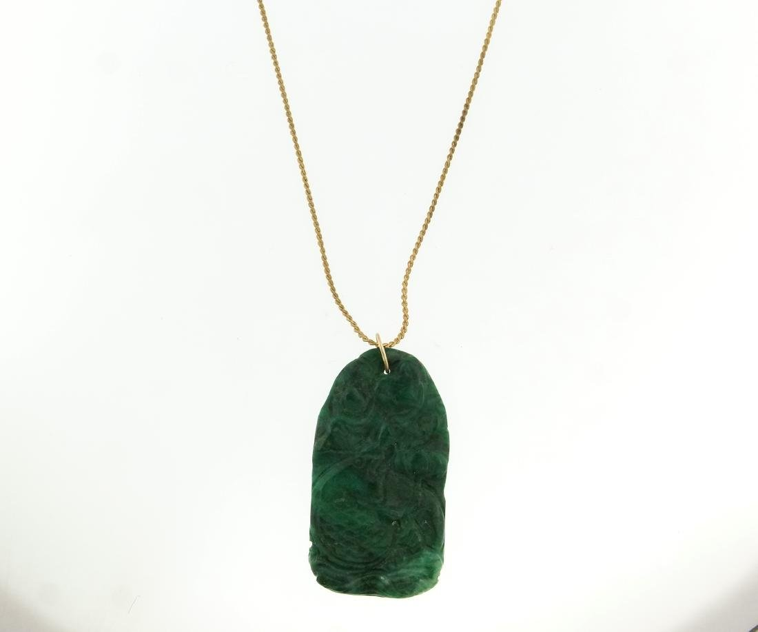 An Old Chinese Carved Jade Medallion and chain - 4