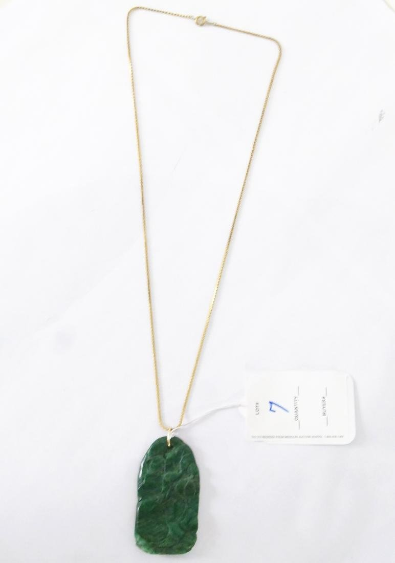 An Old Chinese Carved Jade Medallion and chain - 8