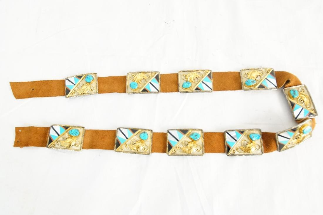 Native Am. Concho belt Gold, silver and turquoise