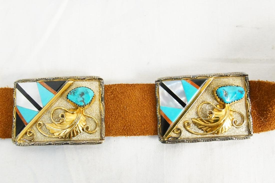 Native Am. Concho belt Gold, silver and turquoise - 3