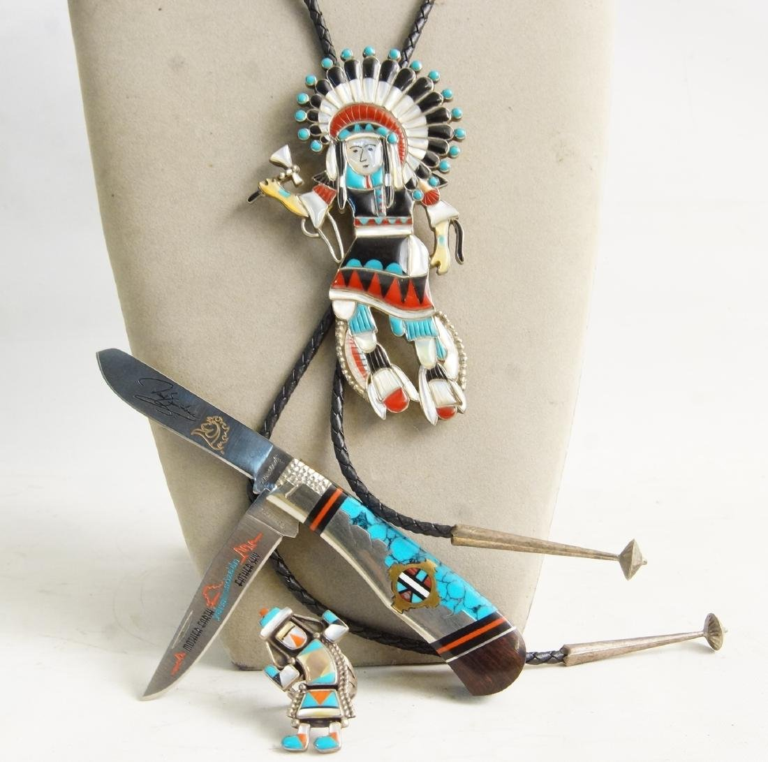 3 Native Am. Artist pieces: Bolo, Ring, knife