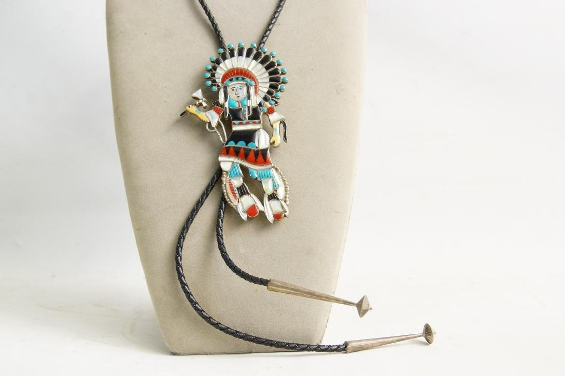 3 Native Am. Artist pieces: Bolo, Ring, knife - 8