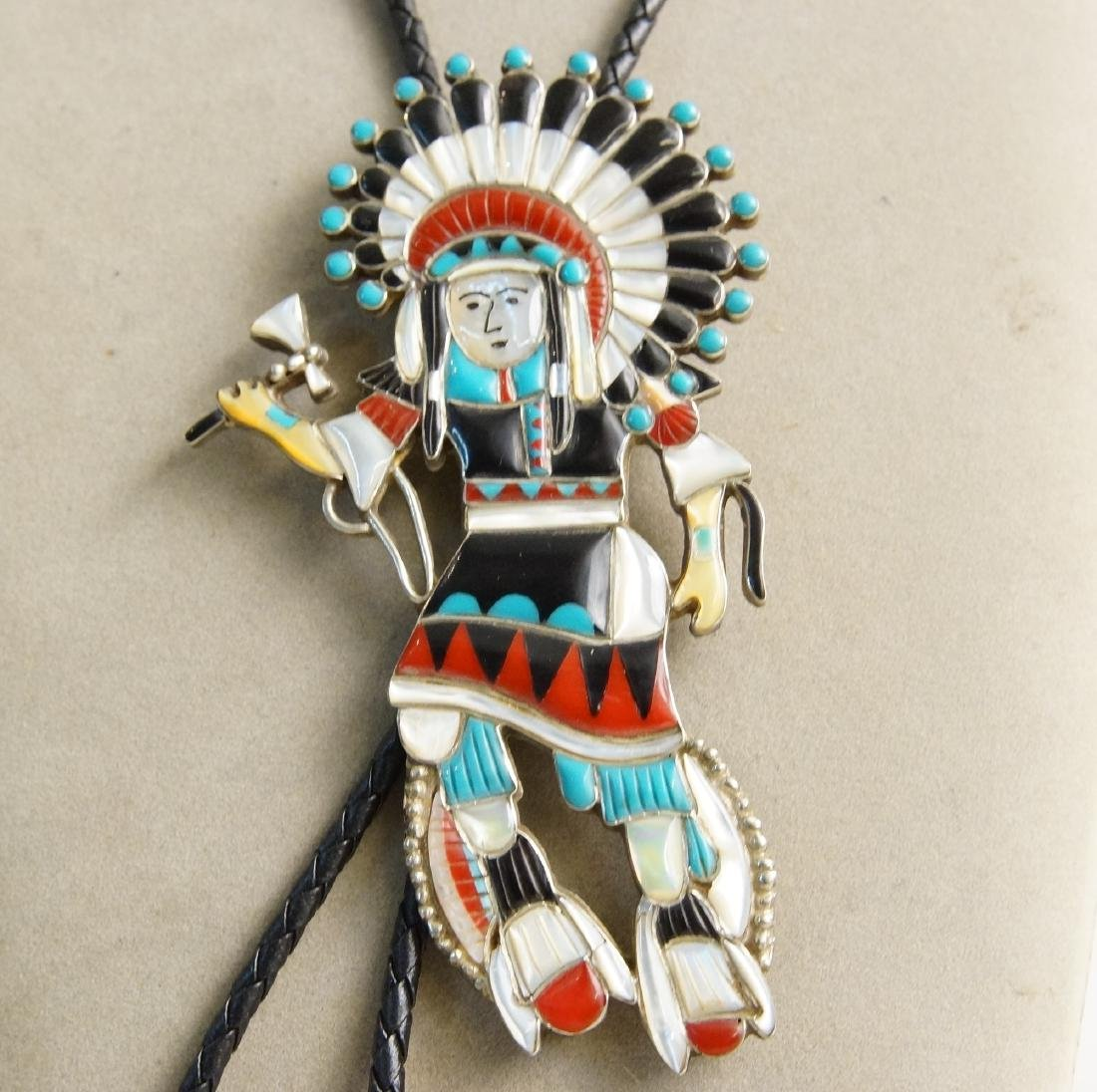 3 Native Am. Artist pieces: Bolo, Ring, knife - 9