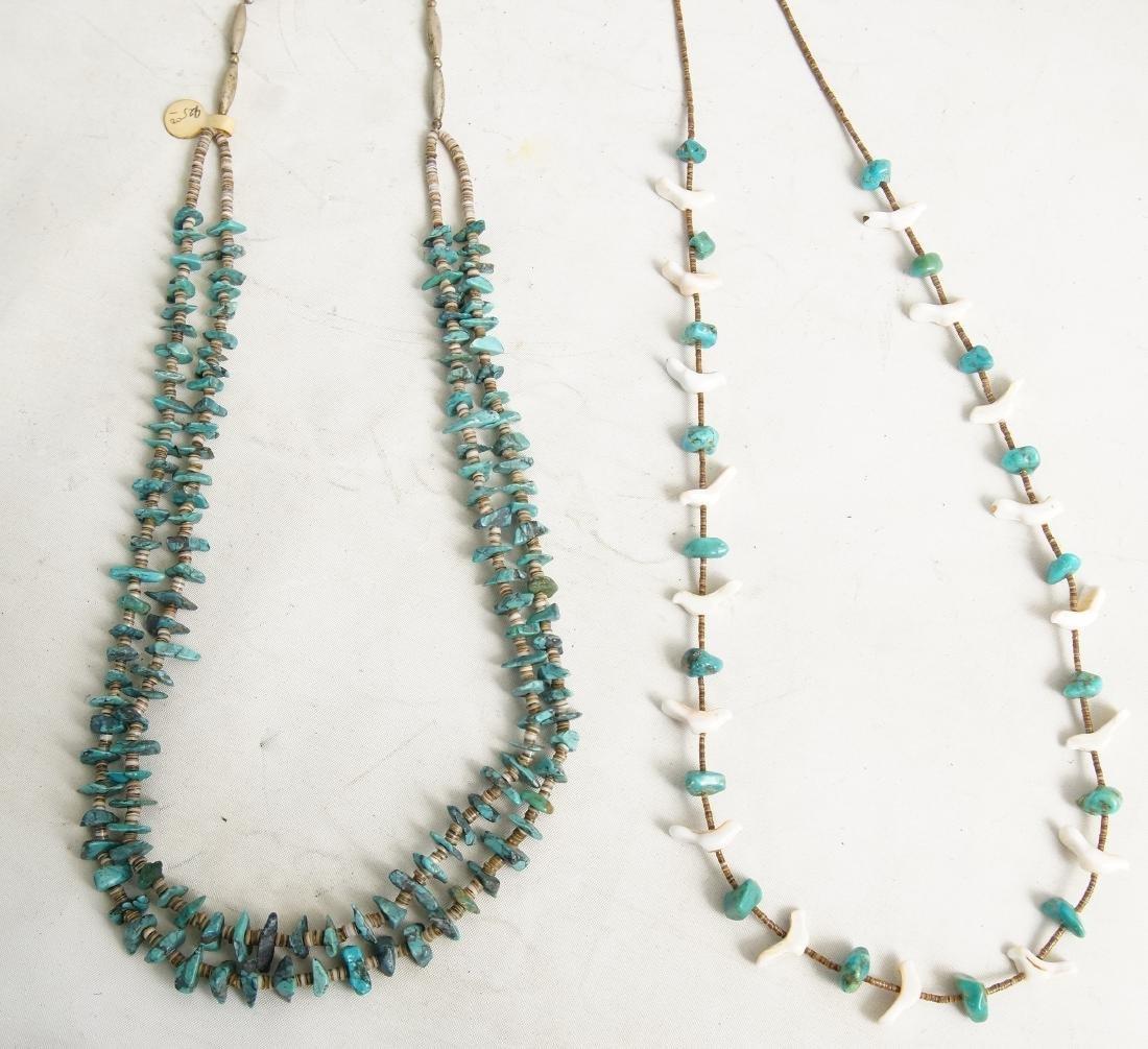 Pueblo beaded & Silver Hishi necklaces - 2