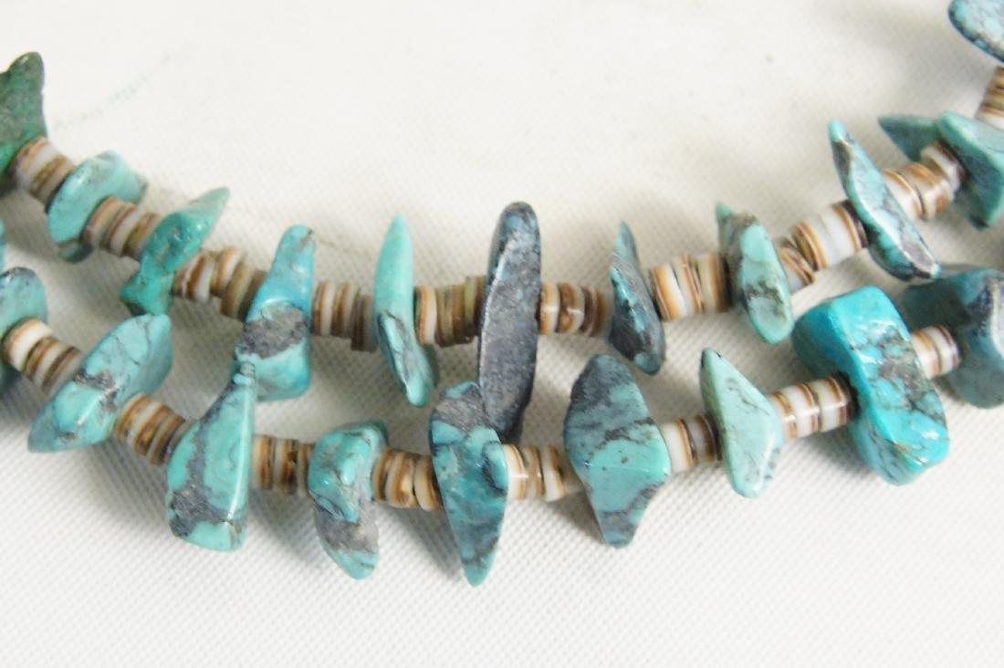 Pueblo beaded & Silver Hishi necklaces - 3