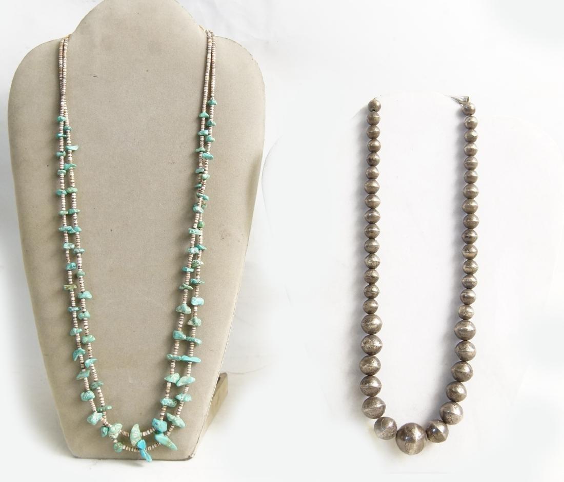 Santo Domingo Pueblo beaded & Silver necklaces