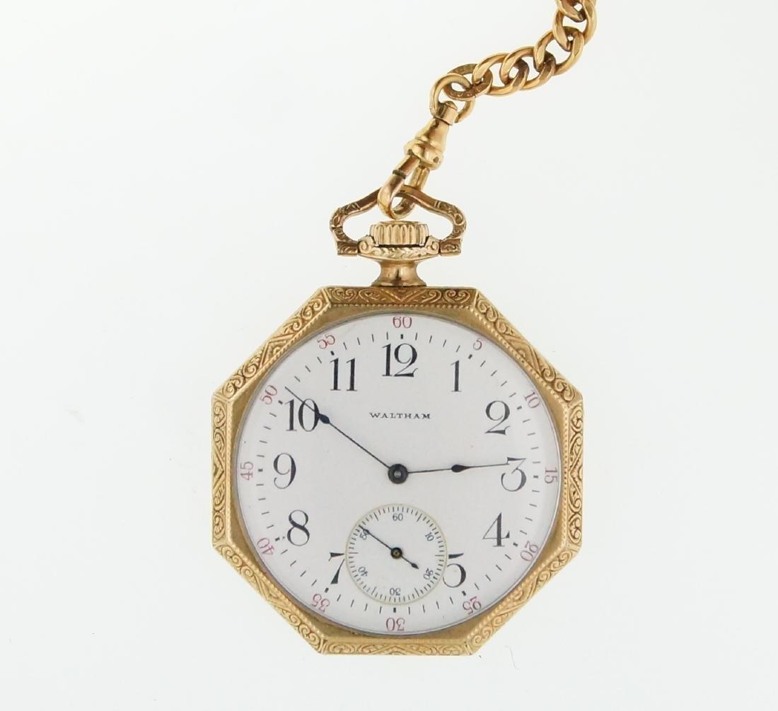 Antique gold Art Deco Waltham pocket watch & fob