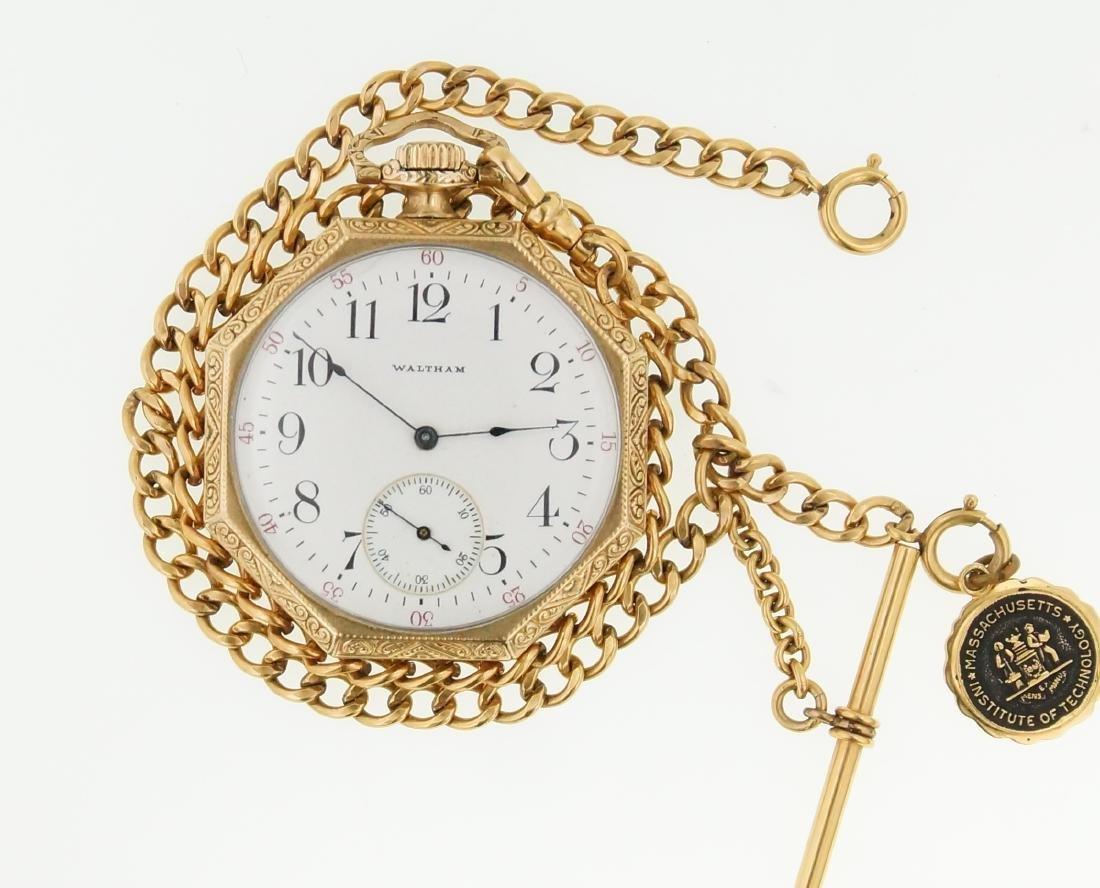 Antique gold Art Deco Waltham pocket watch & fob - 2