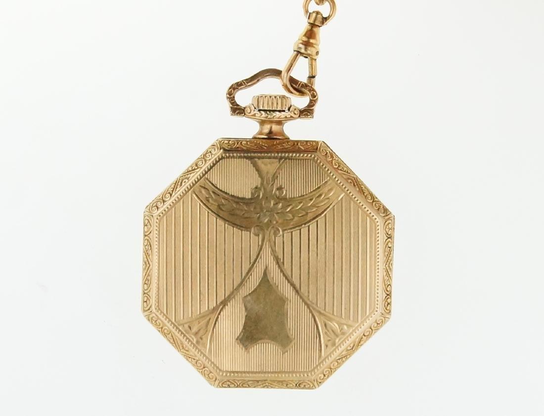 Antique gold Art Deco Waltham pocket watch & fob - 3
