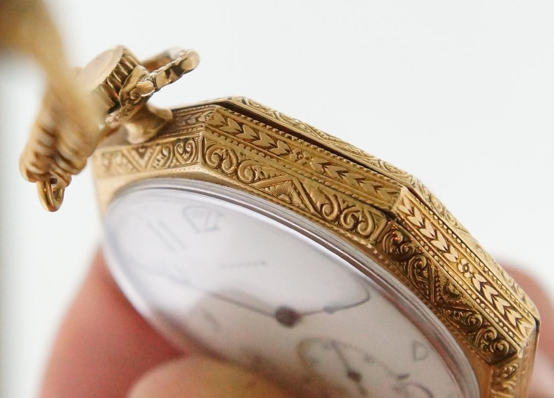 Antique gold Art Deco Waltham pocket watch & fob - 5