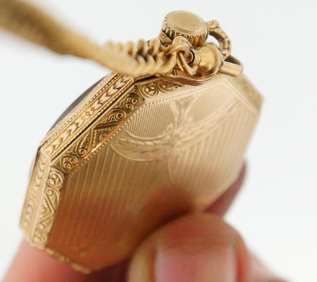 Antique gold Art Deco Waltham pocket watch & fob - 6