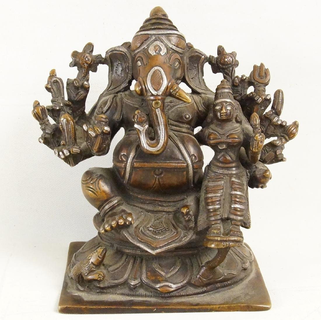 A Rare Indian Bronze Ganesh with Siddhi