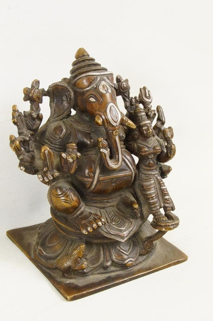A Rare Indian Bronze Ganesh with Siddhi - 2