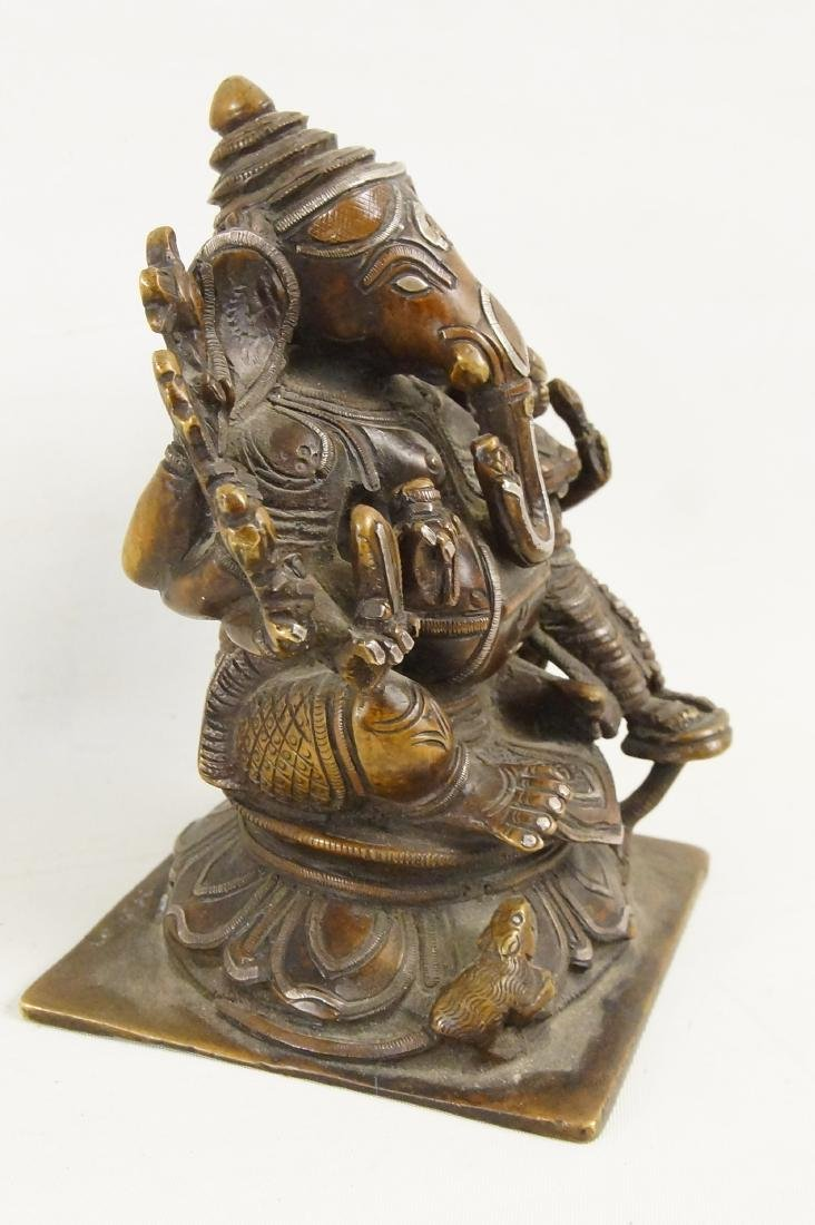 A Rare Indian Bronze Ganesh with Siddhi - 8