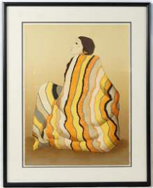 "R.C. Gorman ""Striped Blanket"" original lithograph"