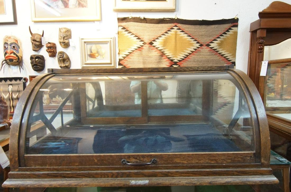 Antique table top showcase w curved glass front
