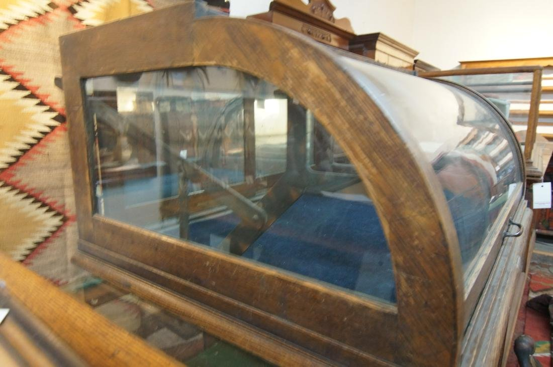 Antique table top showcase w curved glass front - 3