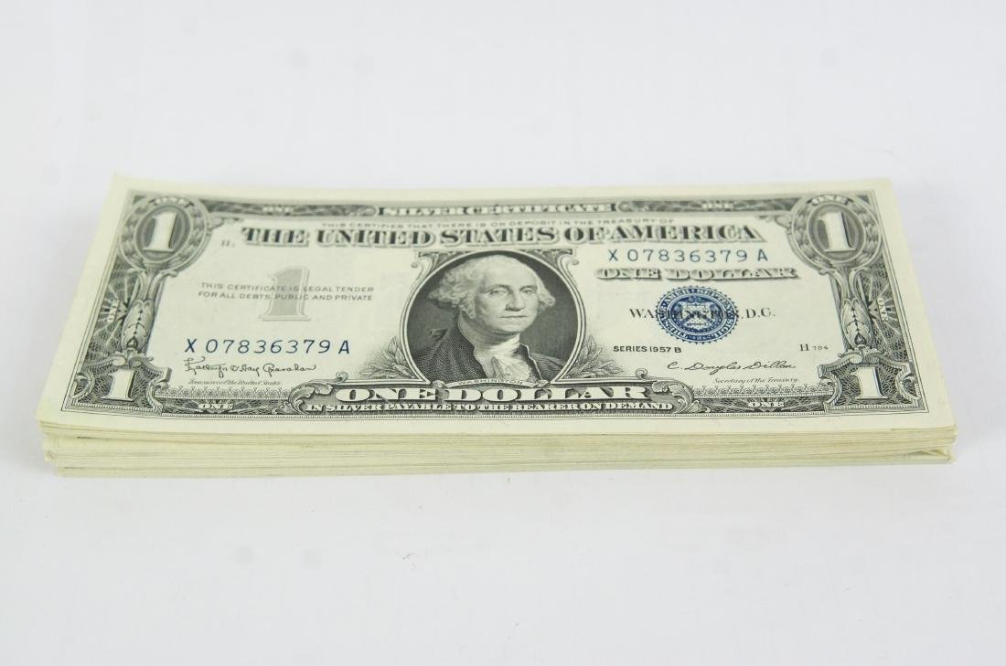 80 Uncirculated 1957 B US $1 Silver Certificates - 3
