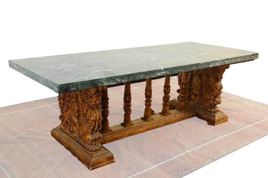 Marble top highly carved table