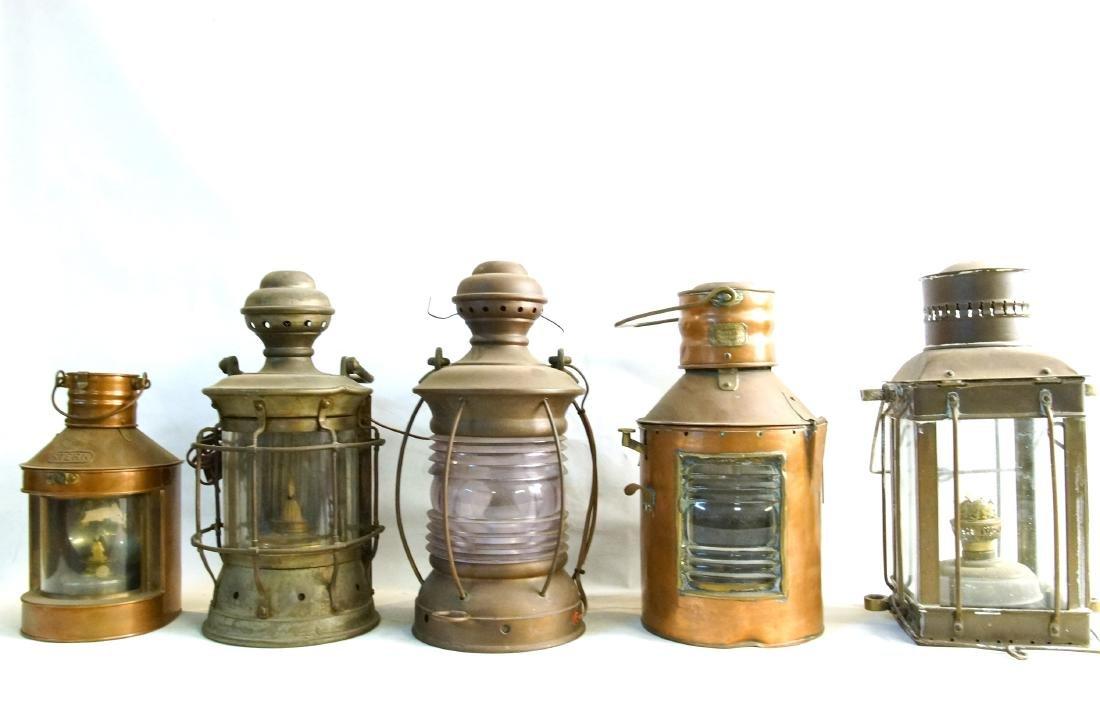 Collection of five antique kerosene lanterns